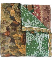 pierre-louis mascia aloeuw panelled silk scarf - green