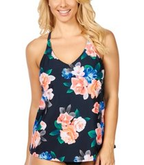 island escape kauai bloom printed racer-back underwire tankini, created for macy's women's swimsuit