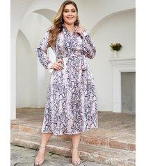 yoins plus size purple random snake print classic collar dress