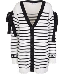 red valentino white cardigan in wool blend with black stripes and bows