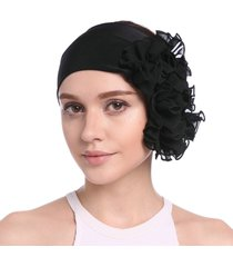 elastic head chiffon donna banda flower capelli accessory beanie hat uv protect sun hat
