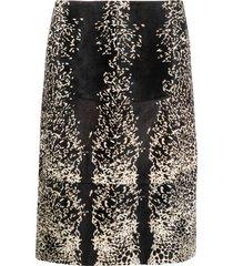 alaïa pre-owned animal print a-line skirt - black