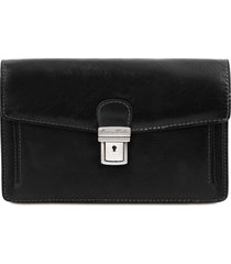 tuscany leather tl141442 tommy - esclusivo borsello a mano in pelle nero