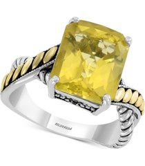 effy lemon quartz (5-5/8 ct. t.w.) ring in sterling silver & 18k gold