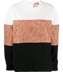nº21 lace colour-block sweatshirt - multicolour