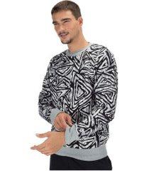 blusão de moletom nike crew aop - masculino - cinza/preto