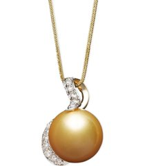 14k gold necklace, cultured golden south sea pearl (13mm) and diamond (1/3 ct. t.w.) pendant