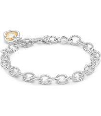 la petite sterling silver & canary cubic zirconia chain bracelet