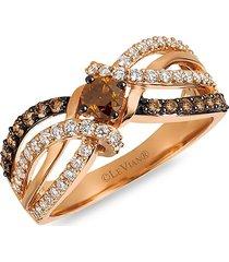 le vian women's chocolatier® 14k strawberry gold®, chocolate diamonds® & vanilla diamonds® ring - size 7