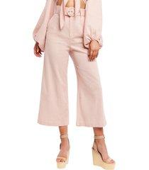 women's bardot lenny belted high waist crop wide leg pants