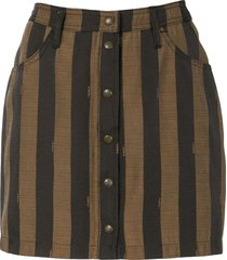 fendi pre-owned vertical stripe mini skirt - brown