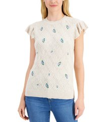 charter club petite ruffled-shoulder sweater, created for macy's
