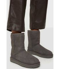 ugg w classic short ii flat boots grå