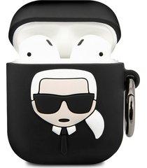 karl lagerfeld paris embossed 3d logo airpods case cover - black