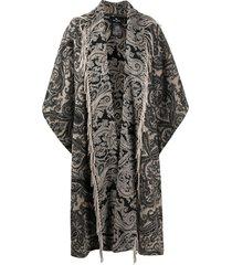 etro paisley-print mid-length cape - neutrals