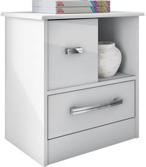 mesa de cabeceira stilo 1 porta de correr e 1 gaveta branco mã³veis albatroz - branco - dafiti