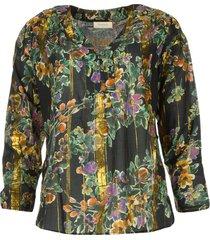 blouse met bloemenprint franz  zwart