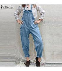 zanzea mono casual con tirantes para mujer mono ceñido pantalón cargo mono liso overol -azul