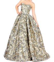 mac duggal women's metallic floral ball gown - black gold - size 4