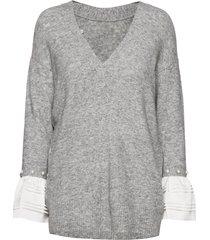lofty vneck pullover w pearl cuff stickad tröja grå 3.1 phillip lim