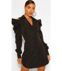 blouse jurk met uitgesneden schouders en geplooide mouwen, zwart