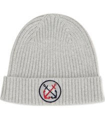 nautica men's blue sail logo patch beanie, created for macy's