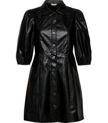 onlrilla puff faux leather dress pnt kort klänning svart only