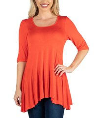 24seven comfort apparel elbow sleeve swing tunic top for women