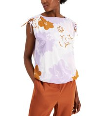 alfani printed tie-shoulder blouse, created for macy's