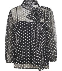 red valentino floral applique scarf detailed blouse