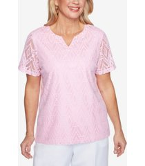 alfred dunner women's missy classics diamond lace short sleeve top