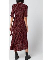 ganni women's leaf print crepe wrap dress - black/red - eu 36/uk 8