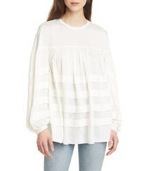 women's club monaco layered tuck top, size xx-small - ivory