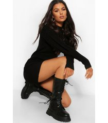 balloon sleeve cable knit dress, black