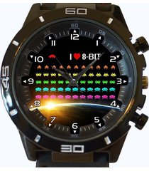 i love 8 bit space invaders new trendy sports series unisex gift watch