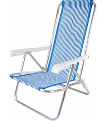 cadeira de praia com 4 posições belfix em alumínio cores diversas - item sortido