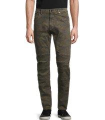 karl lagerfeld paris men's camo-print skinny-fit jeans - army green - size 30