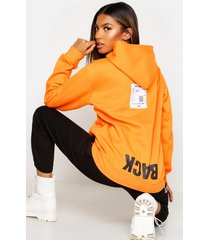back print slogan hoodie, orange
