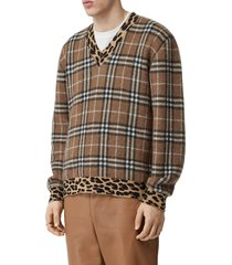 men's burberry leopard & check jacquard sweater