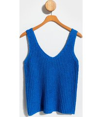calley v-neck sweater tank top - blue