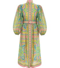 estelle buttoned midi dress in pink/green paisley