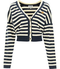 kenzo striped cardigan with tiger patch