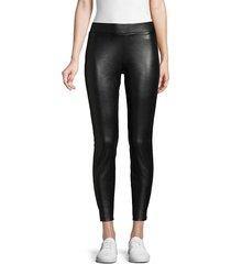 hue women's faux leather cropped leggings - black - size s
