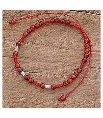 agate beaded bracelet, 'sweet tangerine' (guatemala)