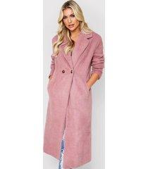 faux fur oversized long coat, dusky pink