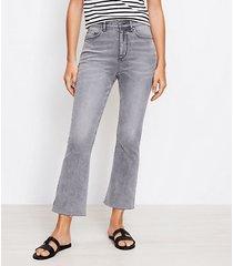 loft curvy fresh cut high rise kick crop jeans in light vapor grey