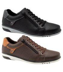 kit 2 sapatênis masculino casual preto e café com ziper e elástico starfox