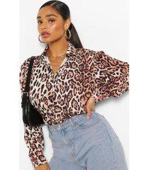 plus satijnen overhemd met luipaardprint, bruin