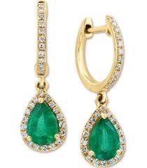 effy emerald (1-1/6 ct. t.w.) & diamond (1/4 ct. t.w.) drop earrings in 14k gold