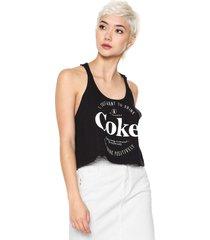 regata cropped coca-cola jeans estampada preta - preto - feminino - algodã£o - dafiti